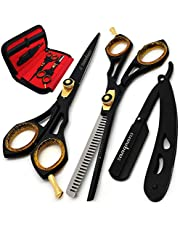 Saaqaans SQS-01 Professional Hair Cutting Scissors Kit - Haircut Scissor for Barber/Hairdresser/Hair Salon + Thinning/Texture Hairdressing Shear for Beautician + Straight Edge Razor + 10 Double Edge Blades with Pouch/Case