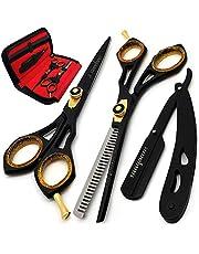 Saaqaans SQS-01 Professional Hair Cutting Scissors Set - Haircut Scissor for Barber/Hairdresser/Hair Salon + Thinning/Texture Hairdressing Shear for Beautician + Straight Edge Razor in Beautiful Case (Black Scissors Set AU)