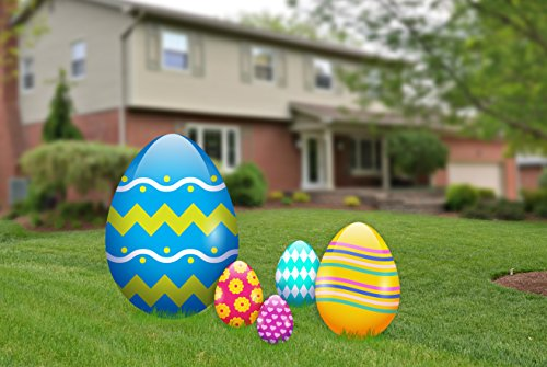 (aahs!! Engraving Easter Egg Yard Signs, Outdoor Decorations 5 Pieces)