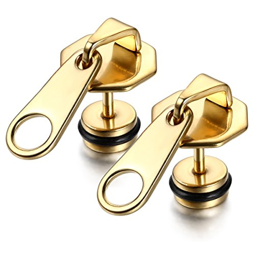 Flongo Stainless Zipper Puller Earrings