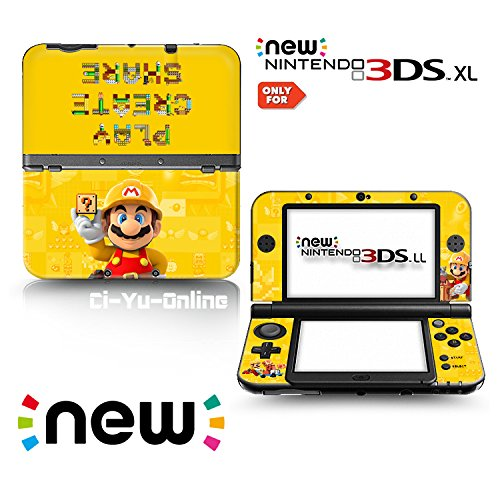 Ci-Yu-Online VINYL SKIN [new 3DS XL] - Super Mario Maker Yellow Gold- Limited Edition STICKER DECAL COVER for NEW Nintendo 3DS XL / LL Console System