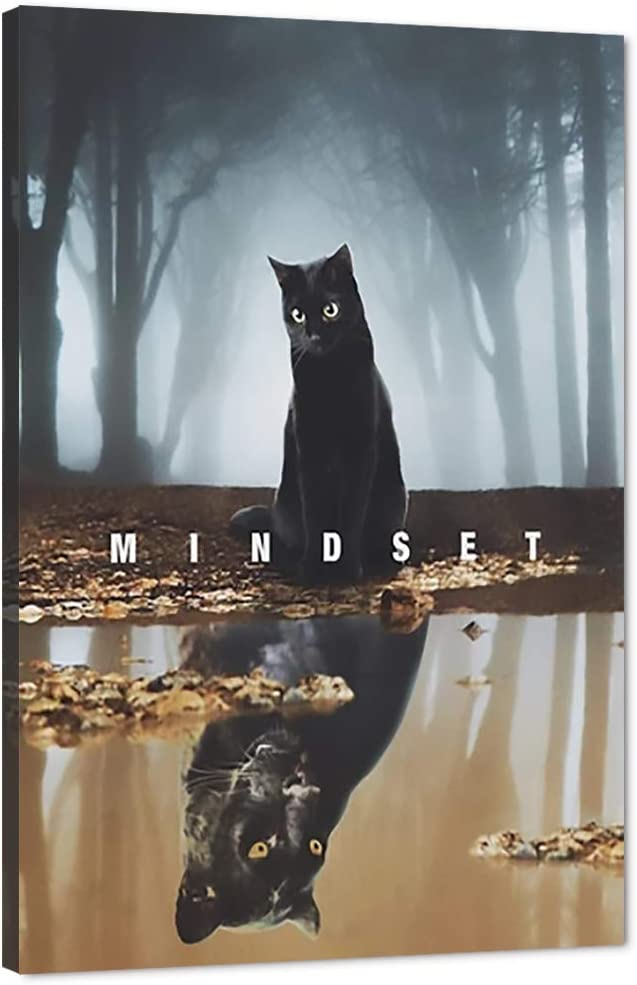 Mindset is Everything Wall Art Black Cat Creepy Misty Forest Motivational Poster Canvas Prints Modern Wood Framed Artwork Oil Painting Ready to Hang for Office Mens Room Living Wall Decor-12''Wx18''H