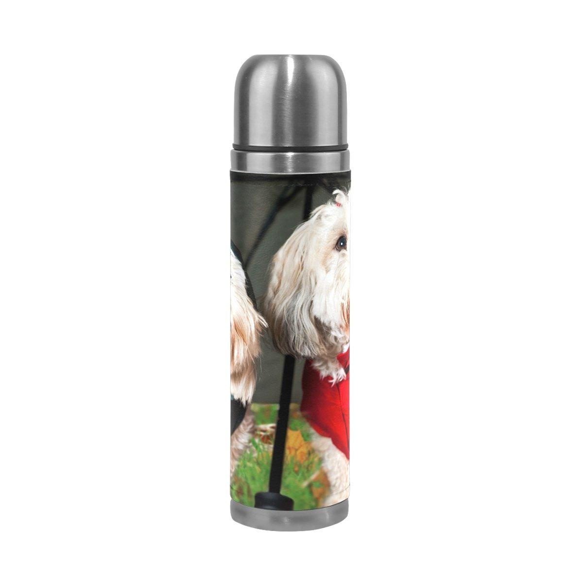 deyyaカスタム印刷誕生日ギフト、Dressed Up犬under傘ステンレススチール真空ウォーターボトルコーヒーマグ旅行カップ、17オンス B076D316DK