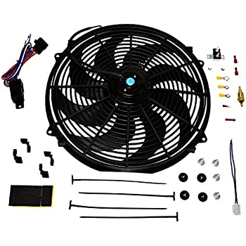 A-Team Performance 180081 Radiator Electric Cooling Fan 16inch Heavy Duty 12V Wide Curved 16
