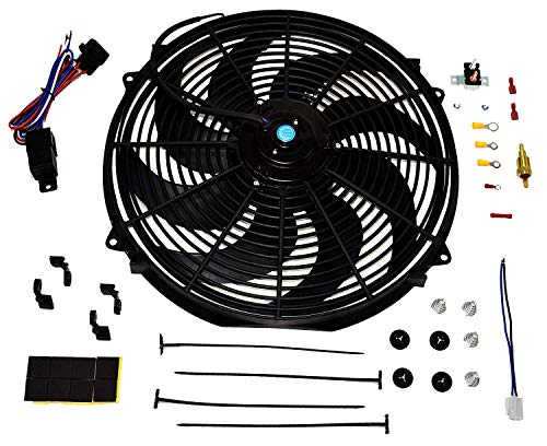 - A-Team Performance 180081 16inches Radiator Electric Cooling Fan Heavy Duty 12V Wide Curved 8 Blades & Thermostat Kit, 3000 CFM Reversible Push or Pull with Mounting Kit