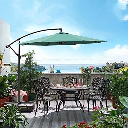 SUNNYARD 10 Ft Cantilever Patio Umbrella Outdoor Offset Hanging Umbrella, 8 Ribs, Green (Base Umbrella 150 Lb)