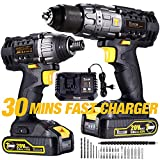 Impact Driver and Hammer Drill, 20V Combo Kits, 2X2.0Ah Li-Ion Batteries, 30-Min Quick Charger,...