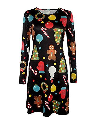 Ropa Calabaza Vestido Nieve Camiseta Mujer Mangas Dress Line Navidad Tipo Niñas Minetom Impresión B para Largas Swing A de qwK7ExO4vC