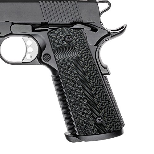 (Cool Hand 1911 Full Size G10 Grips, Magwell Cut, Ambi Safety Cut, OPS Texture, Brand, Grey/Black )