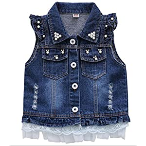Children Baby Pearl Girls Denim Vest Sleeveless Princess Waistcoat