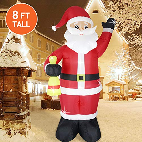 Fashionlite 8ft Christmas Inflatable Santa Claus Xmas Blow Up Lighted Airblown Inflatable with Bell for Indoor Outdoor Holiday Yard Decorations