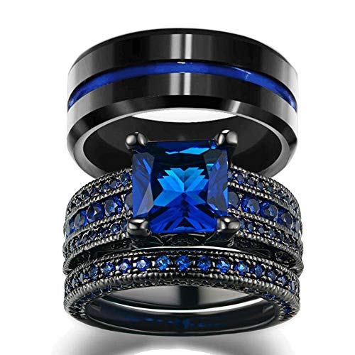 LOVERSRING His and Hers Wedding Ring Sets Couples Rings Women 10K Black Gold Filled Blue Cz Wedding Engagement Ring Bridal Sets Men's Stainless Steel Wedding (Gold Couples Ring)