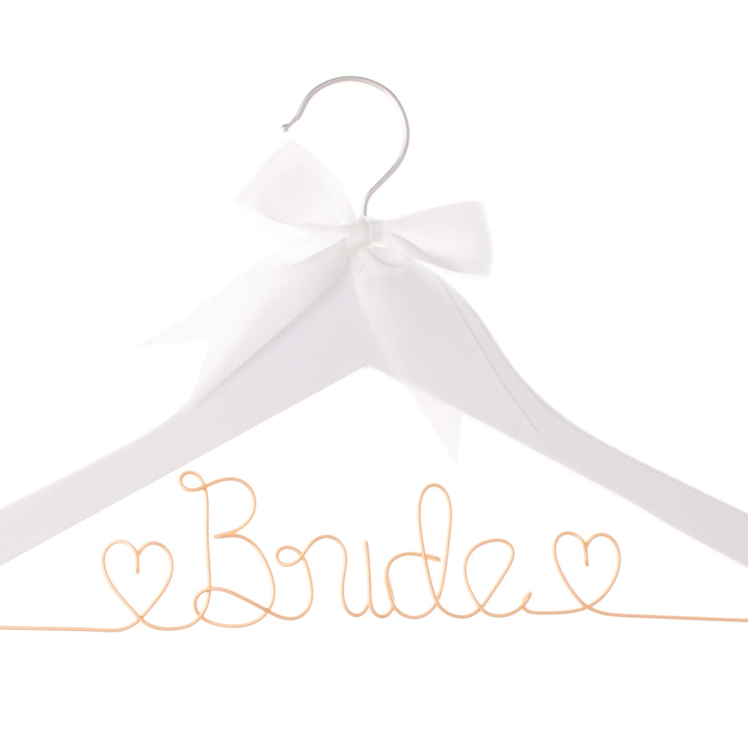 Ella Celebration Bride to Be Wedding Dress Hanger Wooden and Wire Hangers for Brides Gowns, Dresses (White with Rose Gold Wire) by Ella Celebration