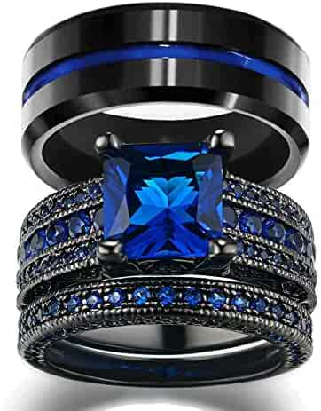 f514af6dae loversring His and Hers Wedding Ring Sets Couples Rings Women 10K Black  Gold Filled Blue Cz