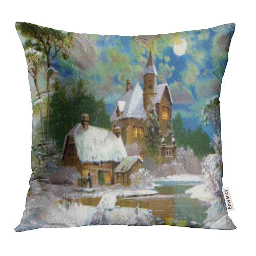 Emvency Decorative Throw Pillow Covers Cases Victorian Peaceful Winter Scenic 1907 Vintage Christmas Scene Ives Currier Era 16x16 Inch Case Cover Cushion Two Sided