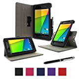 Google Nexus 7 2013 Case, Nexus 7 FHD 2nd Gen Case, rooCASE Dual View Slim Fit Leather PU Folio Stand Smart Auto Wake / Sleep Cover for Asus, Black