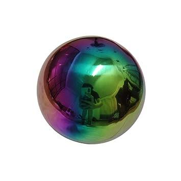 NOUVEAU Boule Decoration Jardin Garden Sphere Multicolore en Acier Inox  Balle de Regarder Creux Miroir en Métal Boule Decoration Table À La Maison  De ...