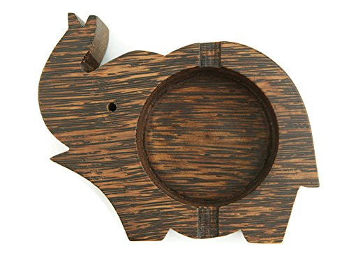 Ashtray cigar holder stand elephant made from palm wood for