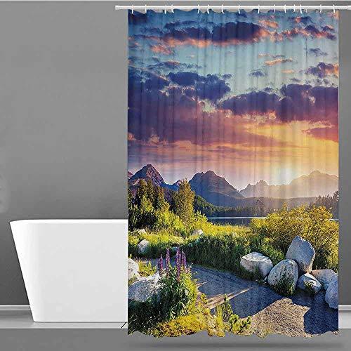 XXANS Travel Shower Curtain,Nature,Bathroom Decoration,W72x72L Fern Green Blue Lilac