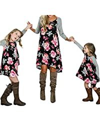 CQO Mommy and Me Family Matching Outfits Long Sleeves Floral Dress Clothes Dresses