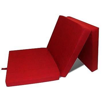 Vidaxl Matelas Mousse Pliable 3 Section 190x70x9 Cm Rouge Pique
