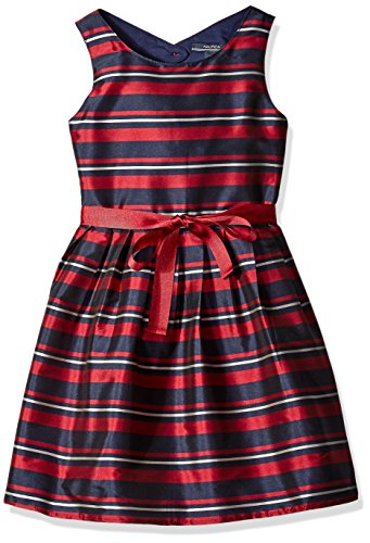 Nautica Little Girls Stripe Taffeta Dress with Grosgrain Sash, Navy, 4