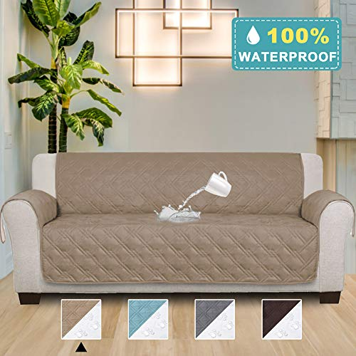 Couch Sofa Slipcover 100% Waterproof Nonslip Quilted Furniture Protector Slipcover for Living Room, Pets Sofa Slipcover Machine Washable (Seat Width: 78