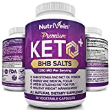 Nutrivein Keto Diet Pills 1250mg - Advanced Ketogenic Diet Keto Fuel Supplement - BHB Salts Exogenous Ketones Capsules - Effective Ketosis Diet Mental Focus and Endurance, 60 Capsules