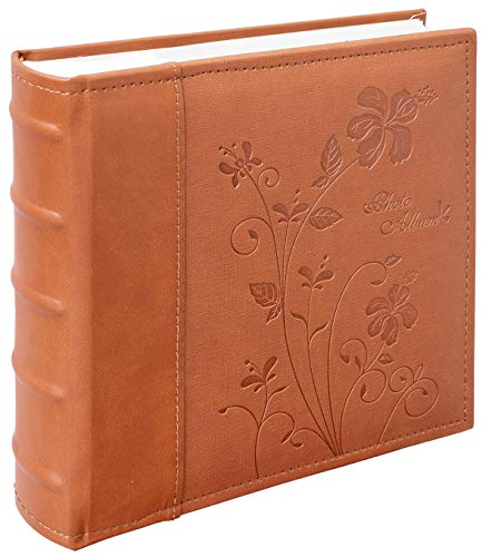 Golden State Art, Wedding Family Baby Holiday Photo Album Christmas, Vacation, Anniversary Photography book for 200 4x6 Pictures Pockets with Memo, 2 Per Page Large Capacity Brown Scroll Embossed Faux Leather