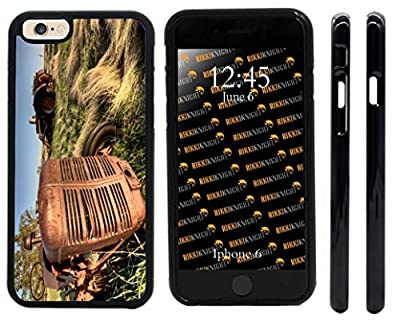 Rikki Knight Antique Farm Tractor Close-up Design iPhone 6 & 6s Premium TPU Case Cover (Black Rubber with front bumper protection) for Apple iPhone 6/6s