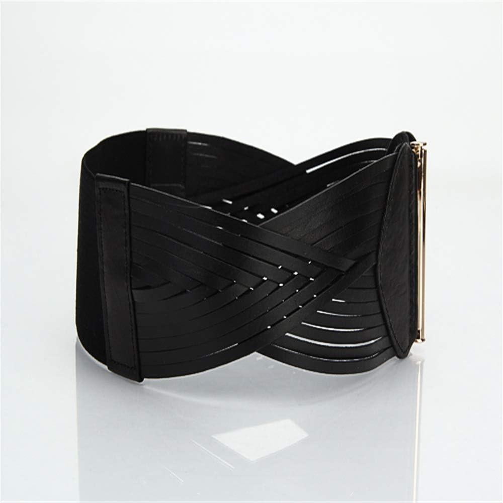 XY-man's belt Confortable Ceinture élastique Vintage en Cuir pour Femmes Ajustable (Couleur : Marron) Noir