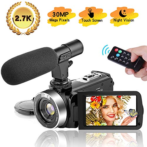 Video Camera Camcorder, Vlogging Camera Ultra HD 2.7K 30FPS 30MP, 3.0 Inch Touch Screen IR Night Vision Camcorders with Microphone, Remote Control