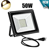 LED Flood Light,50W,5000LM,2800-3200K Warm White,Waterproof IP65,LED Flood Light US 3-Plug Outdoor and Indoor Security Lights Super Bright Floodlight for Garage, Garden, Lawn,Yard (Warm White, 50W)