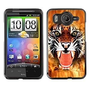 Qstar Arte & diseño plástico duro Fundas Cover Cubre Hard Case Cover para HTC Desire HD / G10 / inspire 4G( Tiger Angry Face Big Cat Teeth Green Eyes)