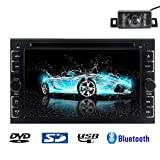 Rear Camera Included 2015 New Model 6.2-Inch Double-2 DIN In Dash Car DVD Player Touch screen LCD Monitor with DVD/CD/MP3/MP4/USB/SD/AM/FM/RDS/TV Radio/Bluetooth/Stereo/Audio on Wall Paper exchange LCD+Windows Win UI Design