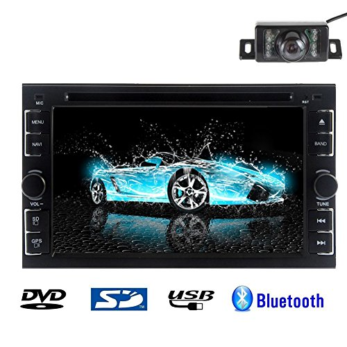 Rear Camera Included 2015 New Model 6.2-Inch Double-2 DIN In Dash Car DVD Player Touch screen LCD Monitor with DVD/CD/MP3/MP4/USB/SD/AM/FM/RDS/TV Radio/Bluetooth/Stereo/Audio on SAT NAV Wall Paper exchange LCD+Windows Win UI Design