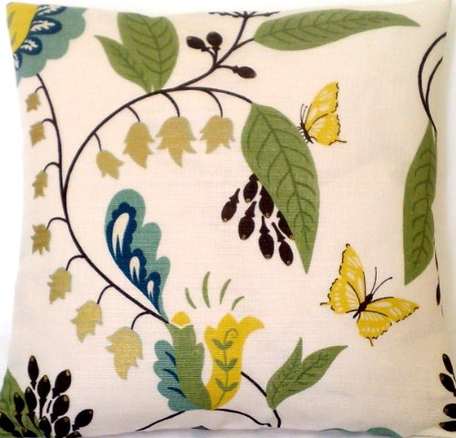 (Leaves & Butterflies Accent Pillow Throw Case Green & Yellow Pattern Cushion Cover Osborne and Little Fabric Langdale )