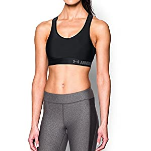 Under Armour Women's Armour Mid Sports Bra,Black/Gray Area, Large
