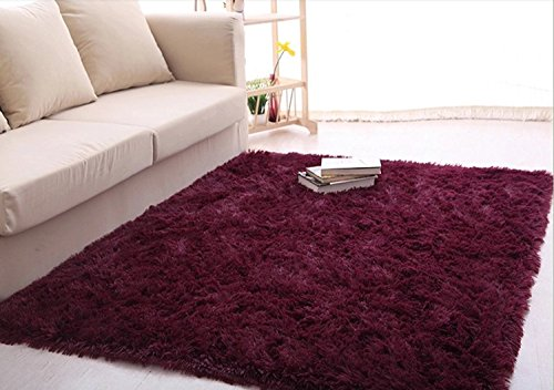 Ultra Soft 4.5 Cm Thick Indoor Morden Area Rugs Pads, New Arrival Fashion Color [Bedroom] [Livingroom] [Sitting-room] [Rugs] [Blanket] [Footcloth] for Home Decorate. Size: 4 Feet X 5 Feet (Claret -