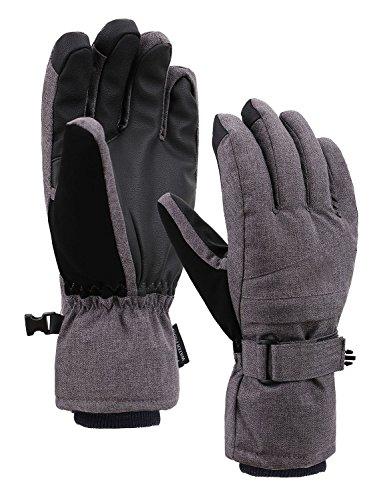 Jasmine Snowboard Gloves Waterproof Winter Outdoor Gloves Mittens,Grey,M