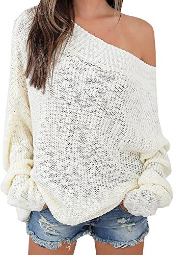 Ruanyu Women's Casual Off Shoulder Loose Pullover Sweater Knit Jumper (Medium, White)