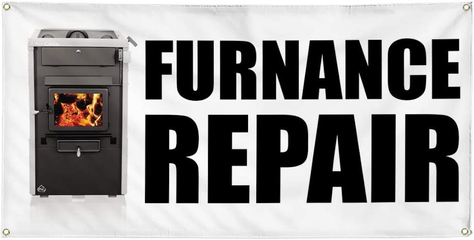 Vinyl Banner Multiple Sizes Furnace Repair Advertising Printing Business Outdoor Weatherproof Industrial Yard Signs White 8 Grommets 48x96Inches