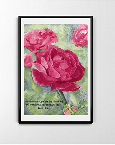 Faith art, christian home decor, bible verse art, flower watercolor , Watercolor Print
