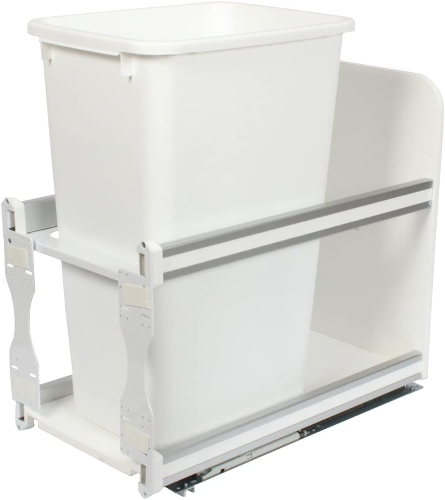 Knape & Vogt USC12-1-50WH in-Cabinet Soft Close Pull Out Trash Can, 23.25 by 11.81 by 22.44-Inch