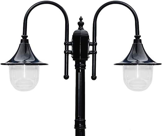 Farola negra 2 lucesc E27 exterior aluminio y Acrilico pantalla mástil luminaria 230 cm de alto Impermeable IP44 césped claro jardín Villa país lámpara de pie forma iluminación: Amazon.es: Iluminación