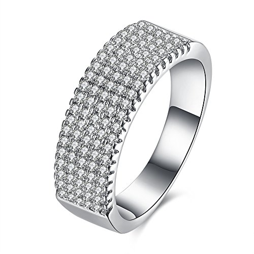 - LuckyWeng Women's New Exquisite Fashion Jewelry Platinum Five Rows Diamond Ring
