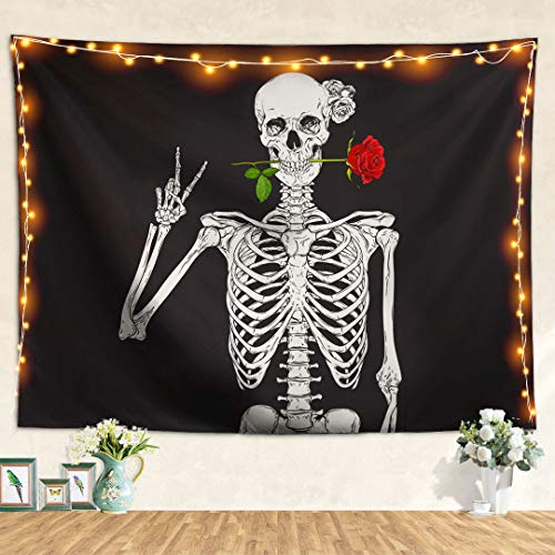 Pheolyh Rock and Roll Human Skull Posing with Rose Tapestries - Funny Skull Human Skeleton Tapestry for Room Decoration - Black and White Wall Art