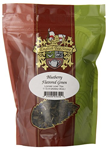 English Tea Store Loose Leaf, Blueberry Flavored Green Tea, 4 Ounce
