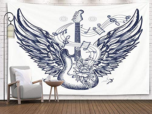 (Crannel Christmas Electric Guitar Roses Angel Wings Music Notes Rock Roll Shirt Symbol Festivals Tattoo Art Tapestry 60x50 Inches Wall Art Tapestries Hanging for Dorm Room Living Home Decorative)