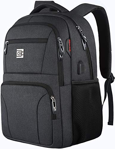Laptop Backpack,Business Travel Slim Durable Anti Theft Laptops Backpack with USB Charging Port,Water Resistant College Backpack for Women Men Fits 15.6 Inch Laptop and Notebook – Black